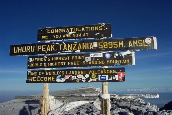 Uhuru Peak sign