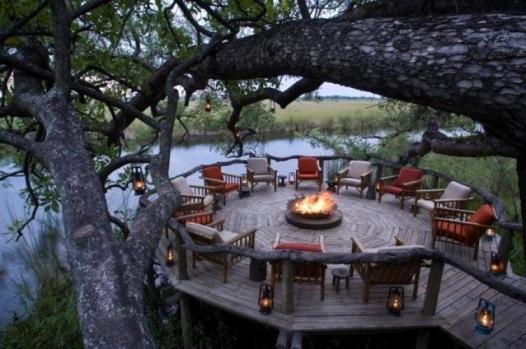 fire deck under Jackalberry trees